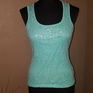 Studio Y teal tank top size small